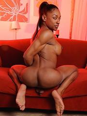 Ebony transsexual goddess showing it all