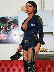 Hot black shemale cop punishes a white thug orally